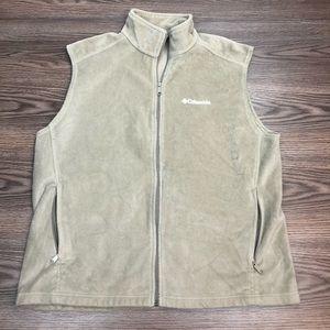 Columbia Tan Fleece Full ZIP-Up Vest XL